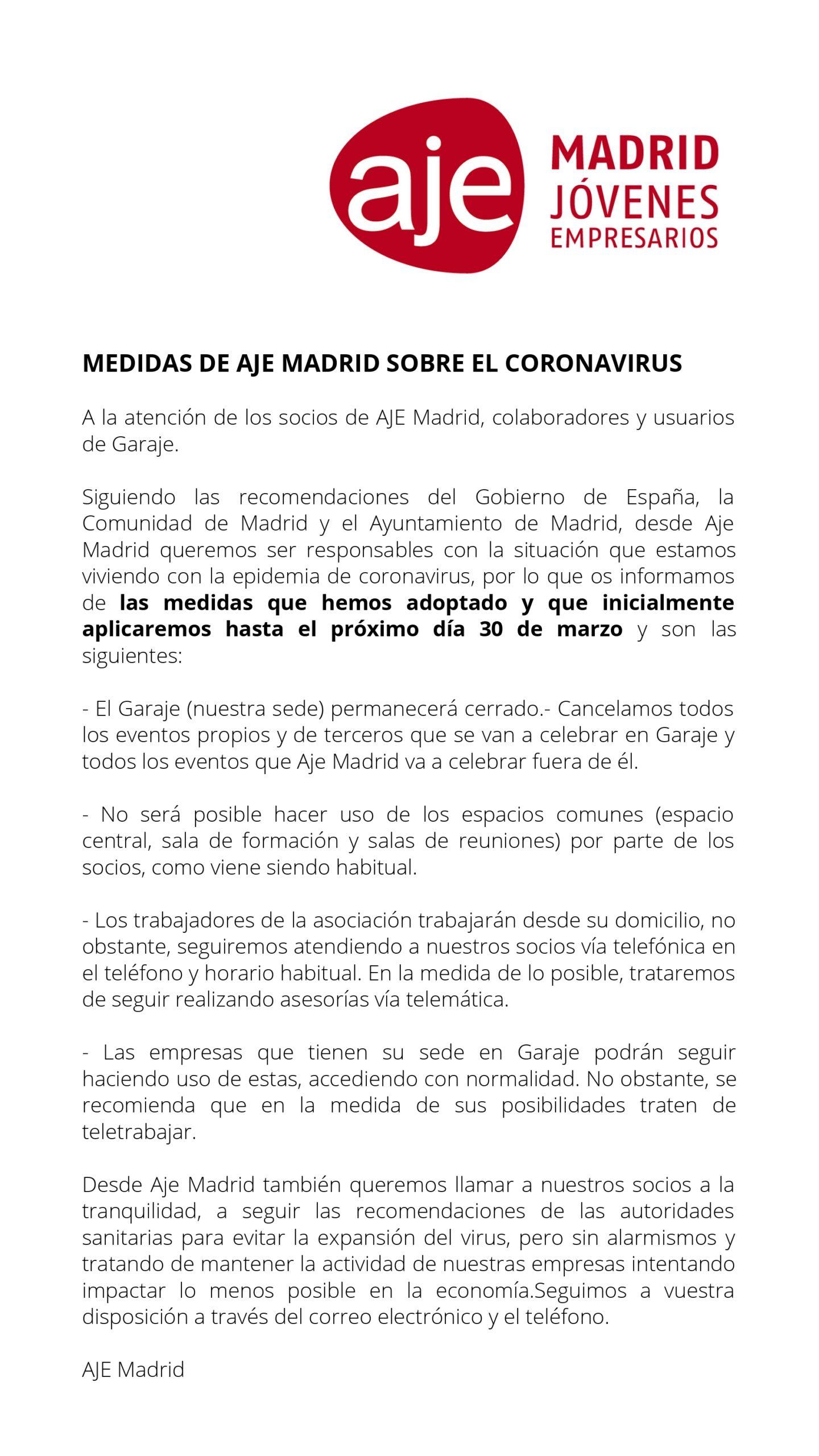 Medidas de AJE Madrid sobre el coronavirus